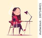 cute cartoon character working... | Shutterstock .eps vector #1007148421