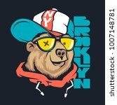 bear in cap vector print design ... | Shutterstock .eps vector #1007148781