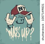 cool man in cap  hip hop face... | Shutterstock .eps vector #1007149831