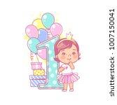 one year girl standing near... | Shutterstock .eps vector #1007150041