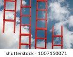 red stairway to heaven. the... | Shutterstock . vector #1007150071