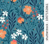 vector floral seamless pattern... | Shutterstock .eps vector #1007152861