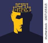 male open head with cyberbrain... | Shutterstock .eps vector #1007155315