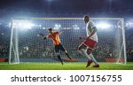 soccer game moment  on... | Shutterstock . vector #1007156755