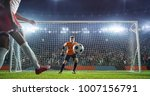 soccer game moment  on... | Shutterstock . vector #1007156791