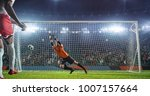 soccer game moment  on... | Shutterstock . vector #1007157664
