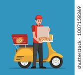 delivery man handling pizza box ... | Shutterstock .eps vector #1007158369