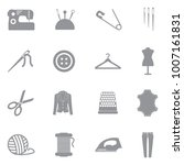 sewing icons. gray flat design. ... | Shutterstock .eps vector #1007161831