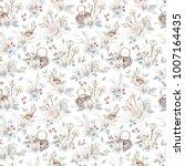 watercolor flowers seamless... | Shutterstock . vector #1007164435