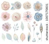 handpainted watercolor flowers... | Shutterstock . vector #1007170831