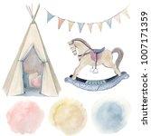 watercolor childhood clipart.... | Shutterstock . vector #1007171359