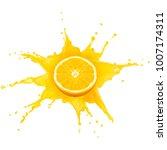 juice splash with orange slice... | Shutterstock . vector #1007174311