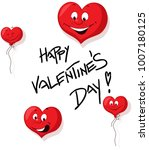 happy valentines day with funy... | Shutterstock .eps vector #1007180125