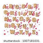 pink sweet cream and cookies... | Shutterstock .eps vector #1007181031