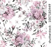 seamless pattern with flowers... | Shutterstock . vector #1007183449