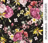 seamless pattern with flowers... | Shutterstock . vector #1007183455
