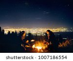 happy couple hikers warm they... | Shutterstock . vector #1007186554