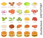 burger or hamburger ingredient... | Shutterstock .eps vector #1007197087