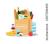 paper bag with fresh organic... | Shutterstock .eps vector #1007206405