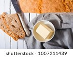 brown bread and butter  old... | Shutterstock . vector #1007211439