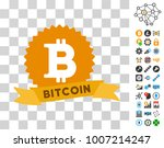 bitcoin reward ribbon icon with ...