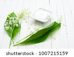 cosmetic cream and lily of the... | Shutterstock . vector #1007215159