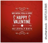 wish you a very happy valentine'... | Shutterstock .eps vector #1007215585