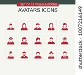 avataras icons set red | Shutterstock .eps vector #1007216149