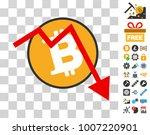 bitcoin down graph pictograph...