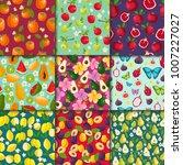 fruit pattern seamless vector... | Shutterstock .eps vector #1007227027