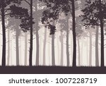 pine forest with tree trunks... | Shutterstock .eps vector #1007228719