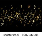 gold flying musical notes... | Shutterstock .eps vector #1007232001