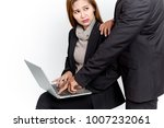 business woman afraid her boss. | Shutterstock . vector #1007232061