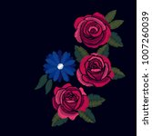 embroidered rose vector design...   Shutterstock .eps vector #1007260039