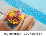 young woman relaxing and eating ... | Shutterstock . vector #1007264869
