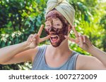 face skin scrub. portrait of... | Shutterstock . vector #1007272009