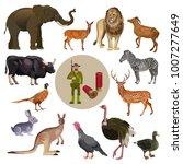 set of wild animals with hunter.... | Shutterstock .eps vector #1007277649