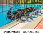 equipment for diving is on the... | Shutterstock . vector #1007283451