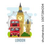 london concept with landmarks... | Shutterstock .eps vector #1007284204