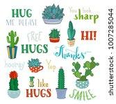 vector cacti and hand written... | Shutterstock .eps vector #1007285044