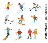 winter vector sport activity... | Shutterstock .eps vector #1007301811