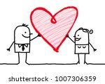 cartoon couple with big heart   Shutterstock .eps vector #1007306359