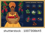african woman with a basket...   Shutterstock .eps vector #1007308645