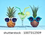 two hipster fruits in trendy... | Shutterstock . vector #1007312509