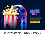 vector glowing neon cinema and... | Shutterstock .eps vector #1007319079