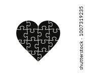 puzzle heart  vector black... | Shutterstock .eps vector #1007319235