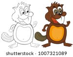 coloring book   cartoon beaver. ... | Shutterstock . vector #1007321089