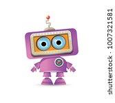 vector funny cartoon purple... | Shutterstock .eps vector #1007321581