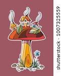fairy town. houses on mushroom. ... | Shutterstock .eps vector #1007325559