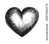 hand drawn heart  black and... | Shutterstock .eps vector #1007334175